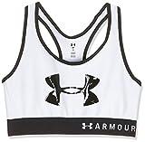 Under Armour Armour Mid Keyhole Graphic, ropa deportiva de mujer para correr, sujetador deportivo para mujer con espalda cruzada y logotipo mujer, White /...