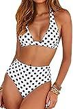 Voqeen Traje de Baño Bikini Floral Mujer Bikinis Sujetador Push-up Sexy Traje de Baño de Dos Piezas BañAdores Tops y Braguitas Ropa de Playa (Blanco y...