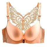 Freahap Sujetador con Encaje Mariposa en la Espalda Push Up Cierre Delantero Sin Aros para Mujer Elástico